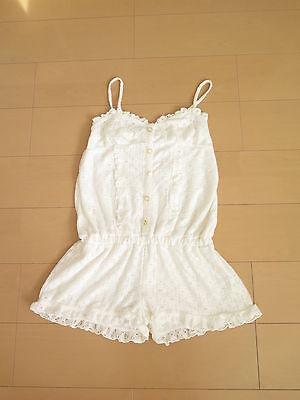 NWT Liz Lisa White Rompers Lolita Hime Gyaru shibuya109 Very Cute (a7)