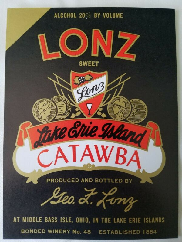 Lonz Sweet Lake Erie Island Catawba Geo F. Lonz Middle Bass Isle Ohio Label