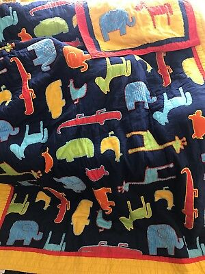 Lot 2 The Company Store Kids Quilt Comforter Animals & Pillow Sham Twin (Company Store Kids Bedding)