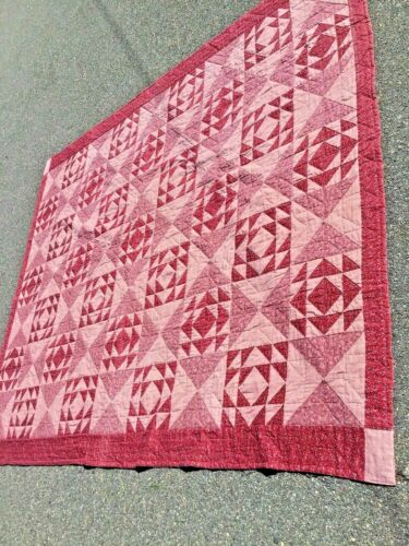 Antique  Handmade Quilt in the beautiful different shade of red and 80 x 96 inch