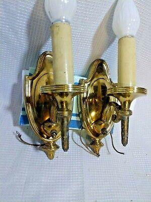 Vintage Lightolier ' Goldtone Wall Sconce Lights Candle Sticks