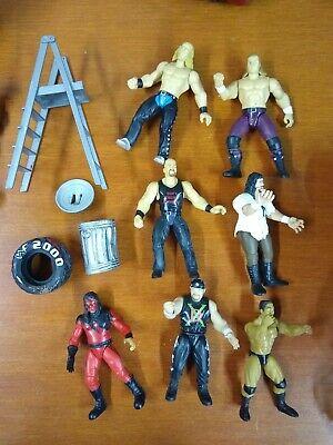 WWE WWF Wrestling Action Figure Lot 7 Wrestlers JAKKS + Accessories RAW DX HBK