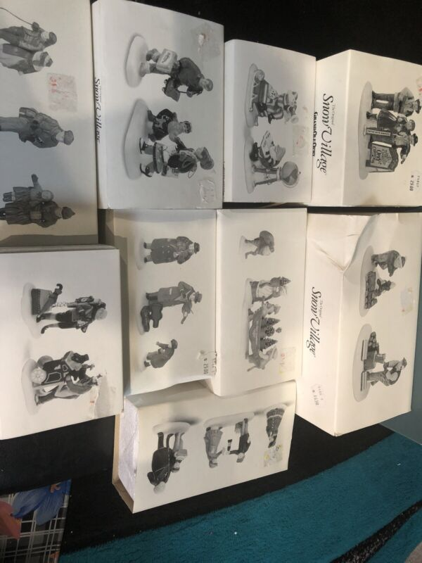 Dept 56 Snow Village Lot Of 9 New In Box Original (Names In Description)