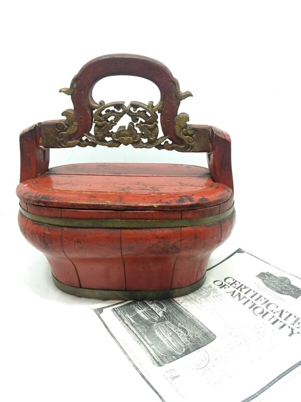 Antique red Chinese Peachwood Wedding Basket w/ copy of Certificate of Anitquity