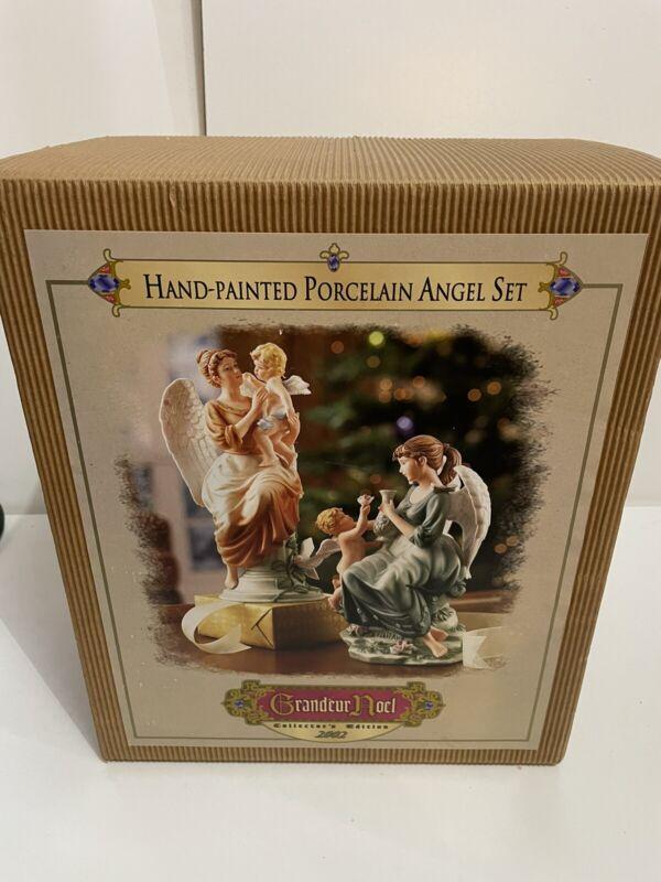 New Vtg Grandeur Noel Nativity Porcelain Angels Hand Painted NIB BEAUTIFUL