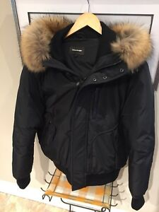 Men's Mackage Down Bomber Jacket With Fur