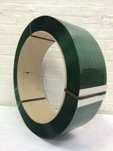 """AAR Polyester Strapping 5/8""""x.040 x 4000 ft 16x6 Green  SMOOTH"""