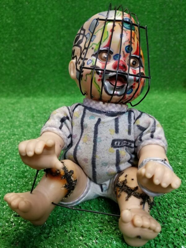 Inmate for Life baby doll demonic creepy movie prop Halloween Satan caged dark