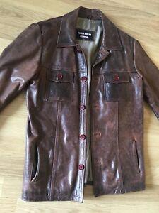 Mens Vintage 60s/70s style Leather Jacket - Large