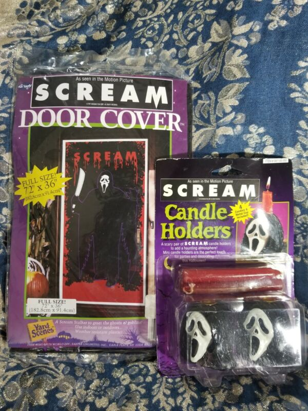 Vintage 90's SCREAM Movie GHOSTFACE Candle Holders & Doorcover! Halloween Decor