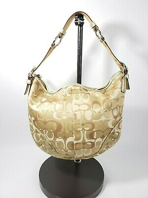 Coach 0496 Canvas Leather Shoulder Bag Handbag Purse Brown