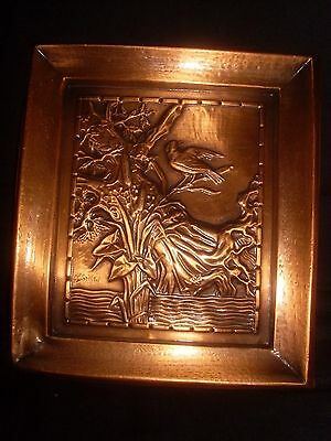 Albert Gilles Hammered Repousse Copper Plaque
