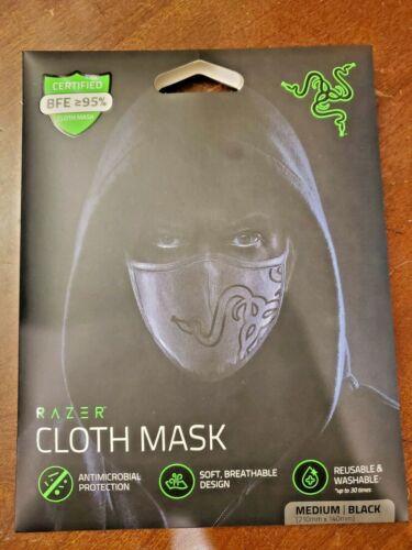 WN Razer Cloth Mask Antimicrobial Medium Black Reusable Washable Breathable NEW