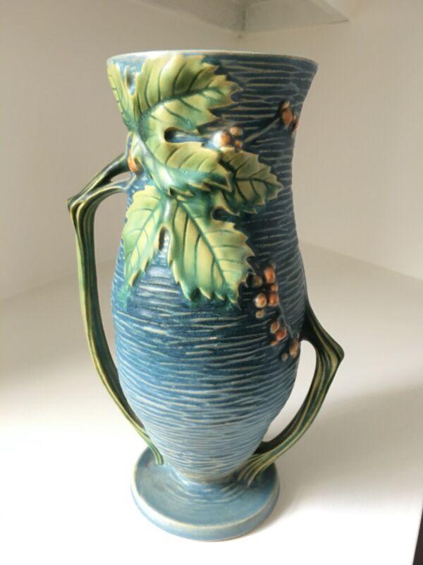 """Roseville Pottery Bushberry Blue 10"""" Vase #37-10, 1941, Excellent Condition"""