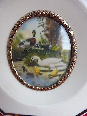 __ Beautiful, old Miniature __ Ducks __ Magnifying Glass Painting __