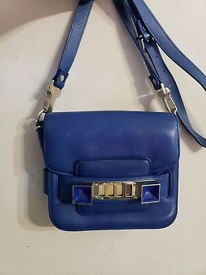 Proenza Schouler Tiny PS 11 Crossbody Large Wallet Clutch Shoulder Bag Blue