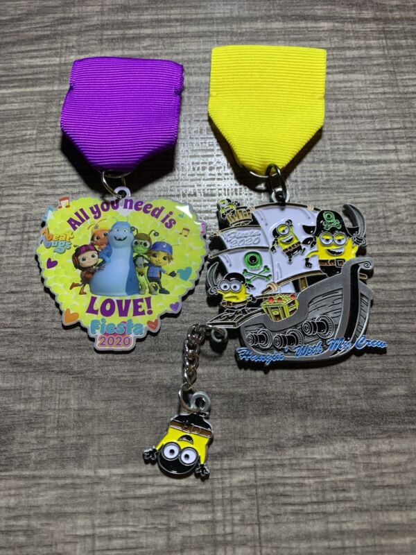 2020 Fiesta Medal San Antonio - 2 Medals - Minion Pirates And Beat Bugs - New