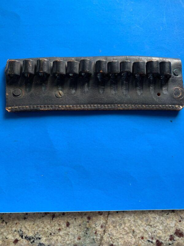 Vintage Black Leather Ammo Poutch