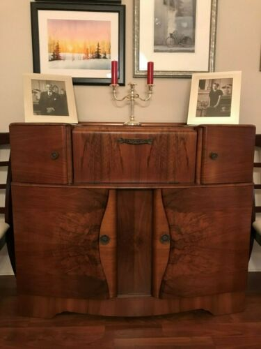 Art Deco Burl Walnut Sideboard