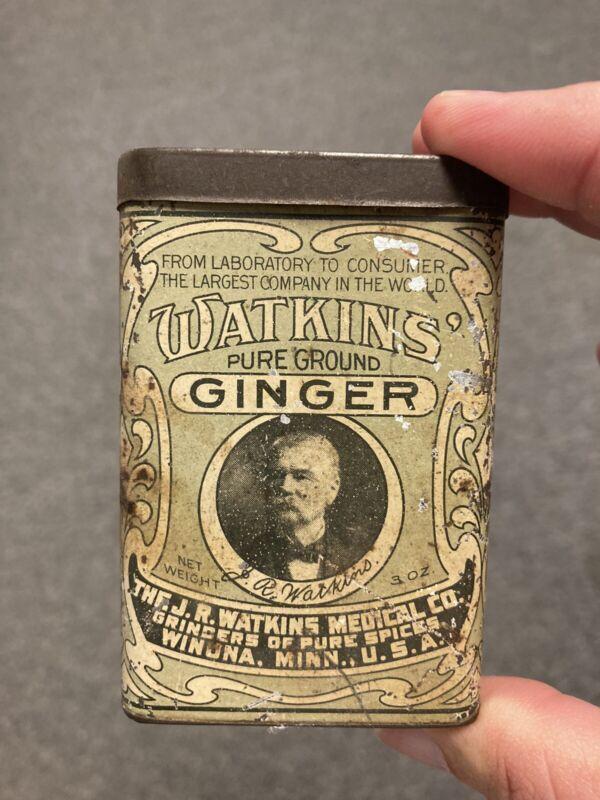 ANTIQUE 4 oz. WATKINS GINGER Spice Tin Can Medical Co. WINONA  MINN.