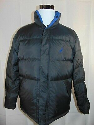 Nautica 83 Down Feather Black Blue Full Zip Button Down Puffer Jacket  Size M