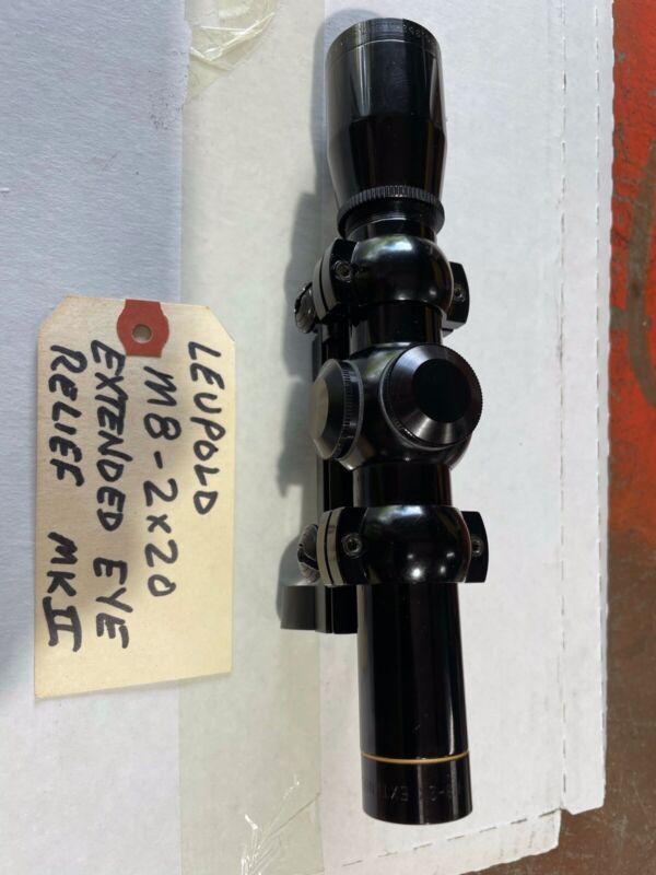 Leupold M8 2X20 Pistol Scope Extended Eye Relief Weaver Mount Ruger Mk II 1982