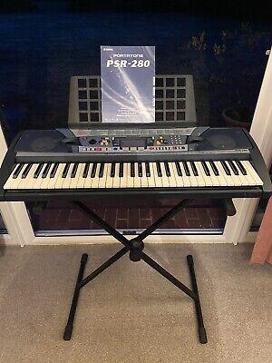 YAMAHA PSR-280 Portatone Electronic Keyboard 61 Keys Instructions Stand & Cover