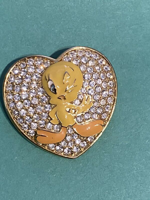 "Warner Brothers ""Tweety Bird"" Rhinestone Heart Brooch"