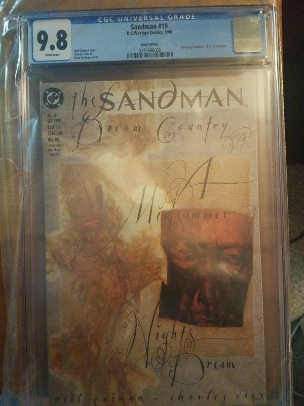 Sandman #19 CGC 9.8 Neil Gaiman Error Edition