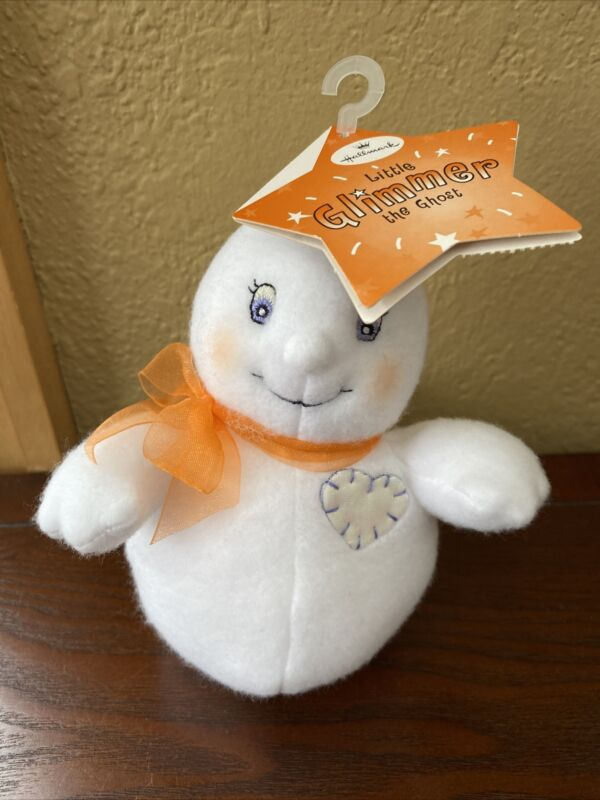 """Hallmark LITTLE GLIMMER the GHOST Plush Toy White 7""""  New with Tags"""