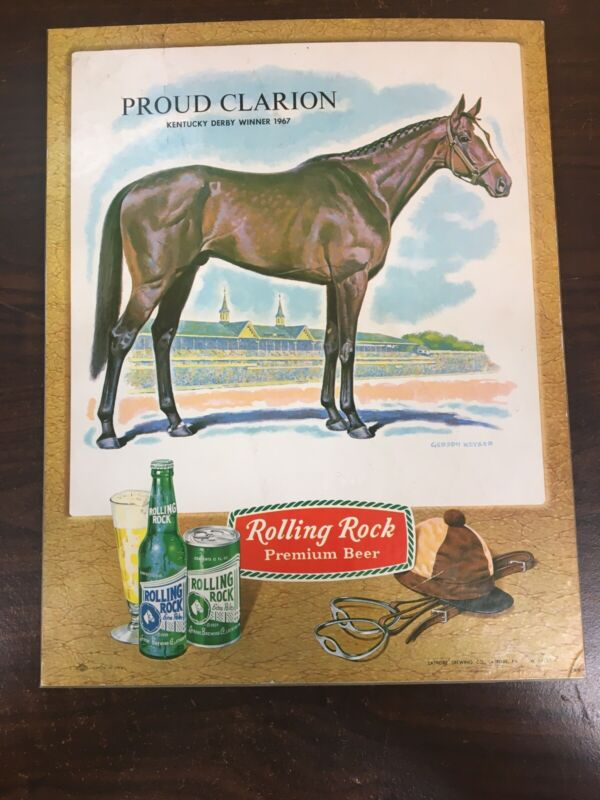 PROUD CLARION 1967 KENTUCKY DERBY  WINNER ROLLING ROCK BEER STAND UP SIGN