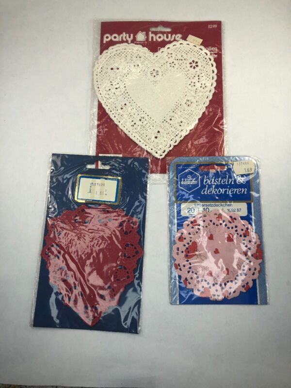Vtg West Germany & USA Valentines Day Heart Paper Doilies Lot Red Pink White