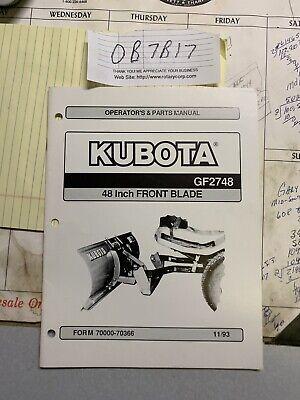 Kubota Gf2748 4 Front Blade Owner Operators Parts Manual