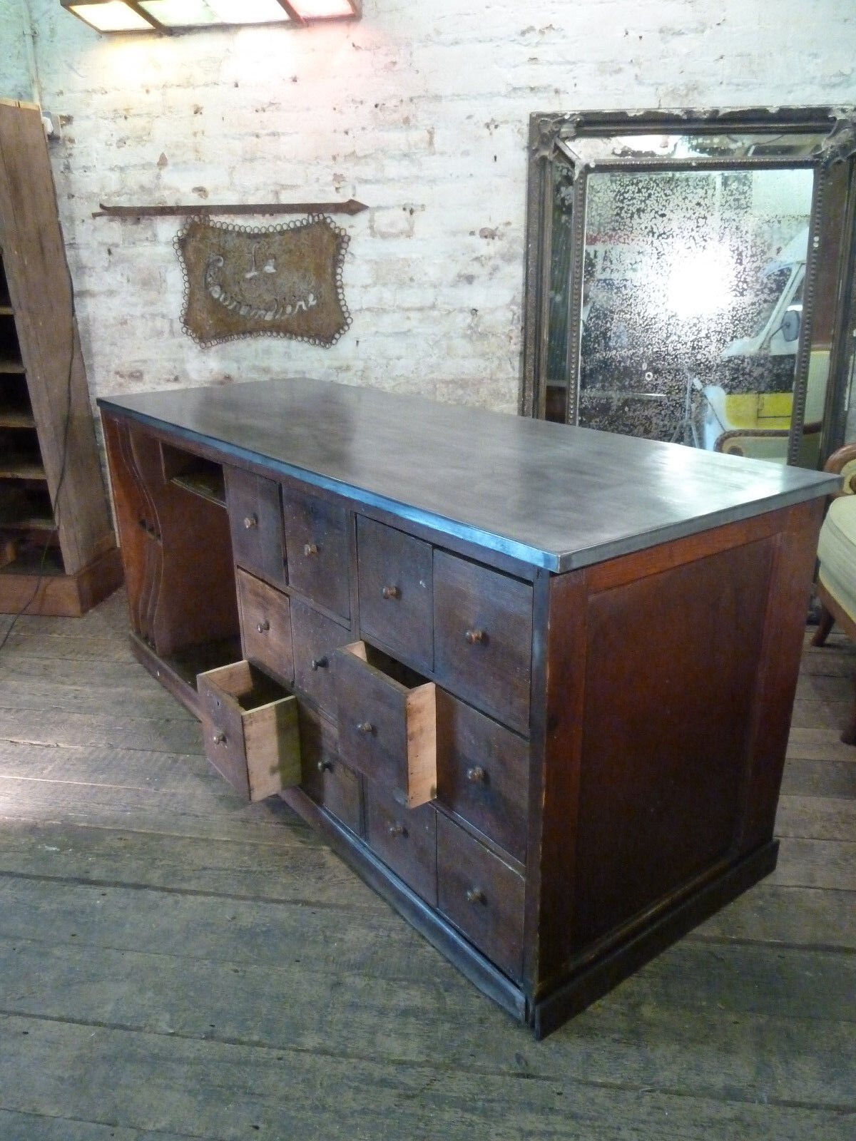 Antique Zinc Worktops/Doors Made to Order Service Tables Cabinets Vintage