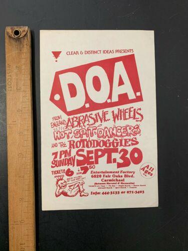 Vtg Punk Concert Flyer DOA Abrasive Wheels Hot Spit Dancers Rotodoggies