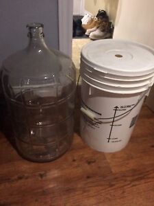 Fermenter bucket, Carboy, Wine bottles
