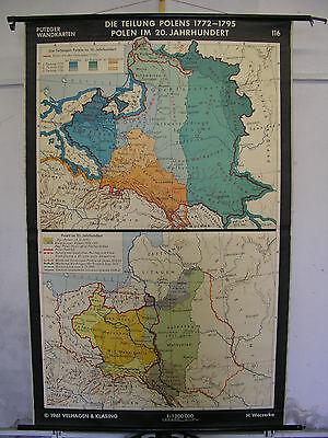 Schulwandkarte Wall Map Division Polen-Litauen 18. 20.Jh Mapa Polska 138x214