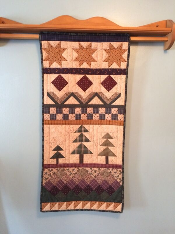 "Country Wall Hanging, Hand Quilted, 20"" x 42,"" Country Wall Decor, Handmade"