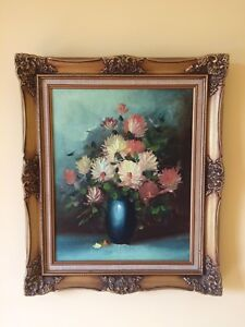 Oil on Canvas Painting of Flowers with Wood Frame