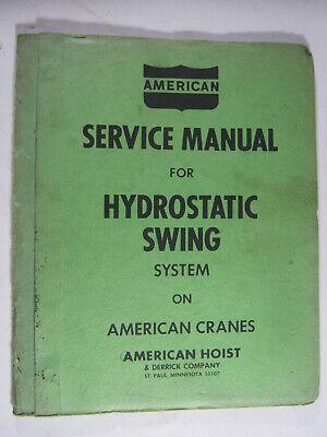 American Crane Hydrostatic Swing Service Manual Truck Crawler Oem