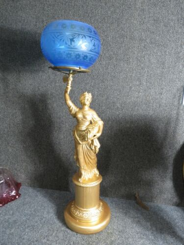 Victorian  Newel Post Gas Fixture with Blue Gas shade