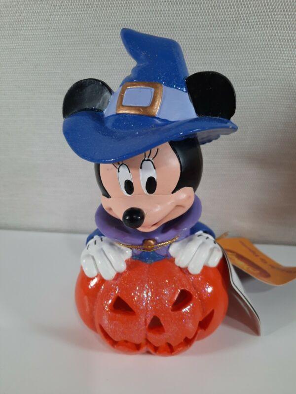 "Disney Minnie Mouse Witch Halloween Bobblehead Pumpkin Purple Orange Lights 7"""