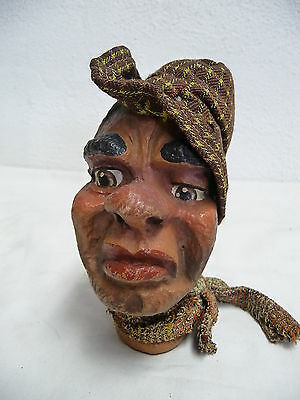 Große Kasperpuppe Handpuppe Marionette Puppentheater Pappmaschee Kopf uralt  (5)