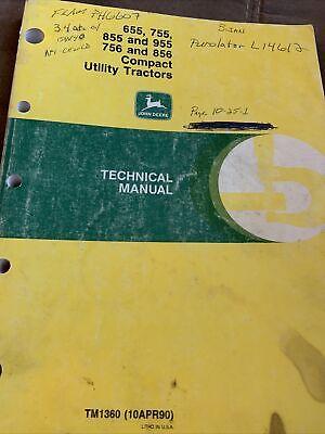 John Deere 655 755 855 955 756 856 Compact Tractor Technical Manual Tm1360