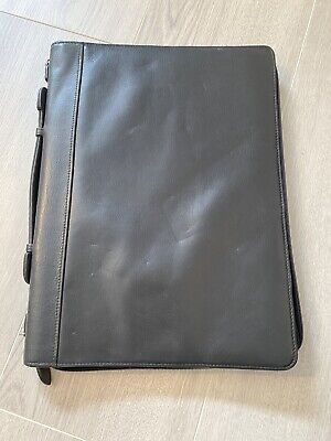 Black Wilson Genuine Leather Portfolio Cover 13x 9.5 Zippered Legal Pad Cover