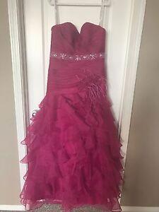 Raspberry pink strapless graduation dress