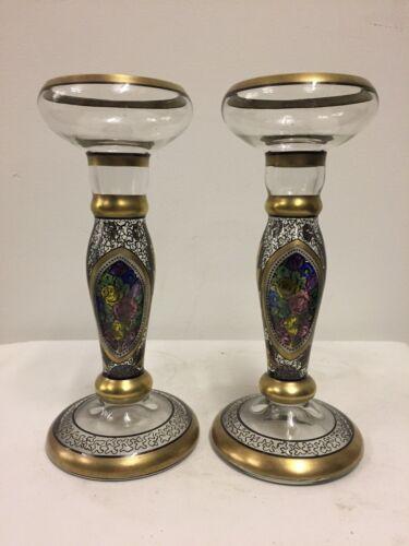 Pair of Antique Bohemian Glass and Enamel Art Nouveau Candlesticks, circa 1890