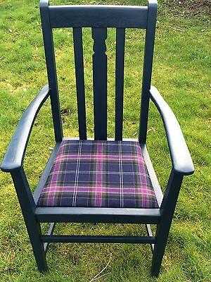 Painted Vintage Oak Carver with 100% Wool Tartan Seat - navy