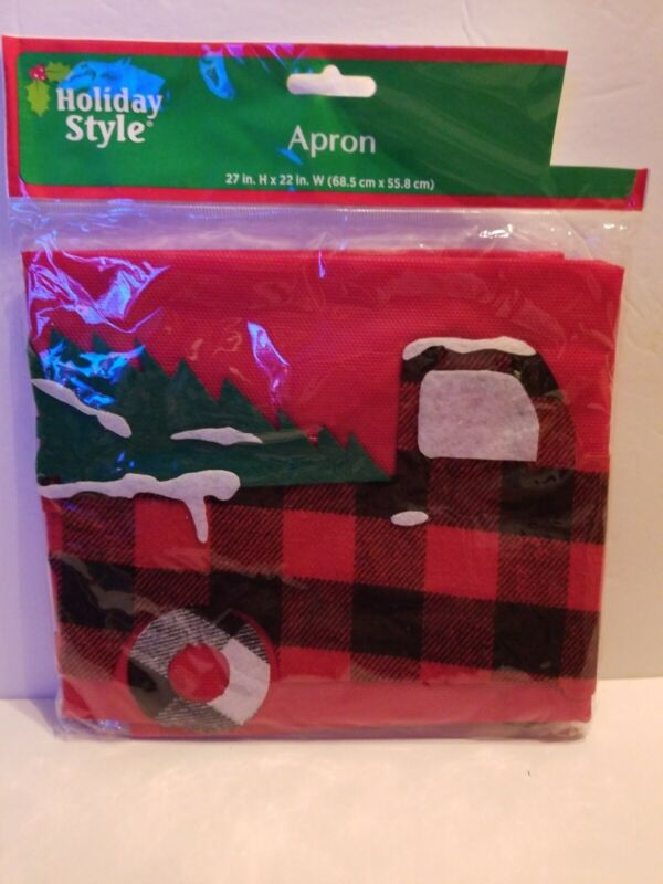 CHRISTMAS FARMHOUSE RED TRUCK APRON~27in x 22in