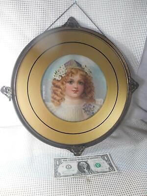 HUGE Antique Flue Cover Chromolithograph PRETTY YOUNG VICTORIN GIRL w Flowers